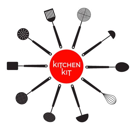 Set of kitchen utensil. Mock up. Vector icon set