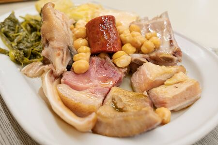Galician stew. Cocido gallego dish. Typical dish of Galicia, Spain