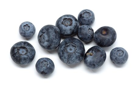 Fresh blueberries isolated on white background. Cyanococcus