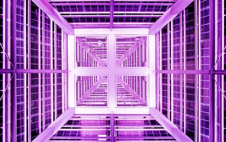 Abstract colorful background. Geometric structure sci-fi with magenta lights