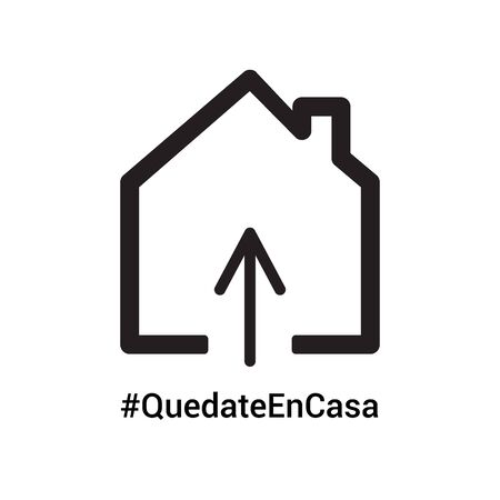 Home icon with spanish hashtag Stay at Home to draw attention that everyones responsibility to stop the coronavirus COVID-19 virus