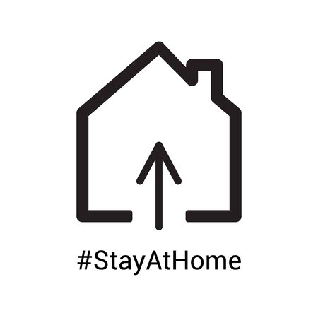 Home icon with hashtag Stay at Home to draw attention that everyones responsibility to stop the coronavirus COVID-19 virus