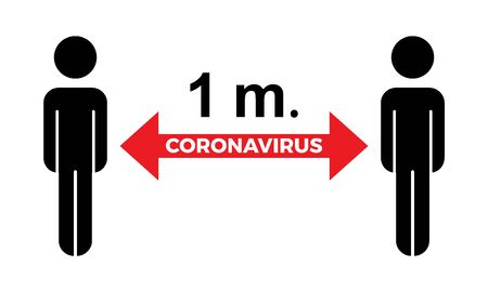 Coronavirus COVID-19 virus social distance concept. 1 meter Safety instruction