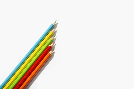 Multicolored pencils isolated on white background. Copy space for text. Back to school concept