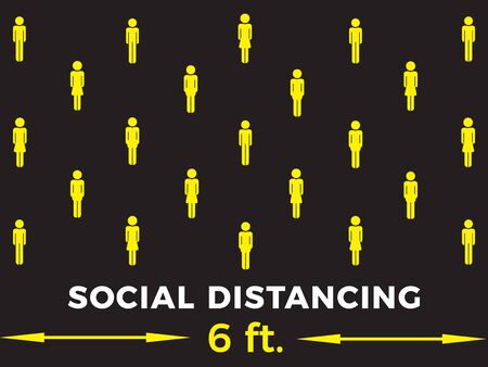social distancing concept. Stay six feet apart. Flat icon illustration