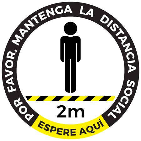 social distancing concept. Wait here spanish language and Stay two meters apart. Flat icon illustration