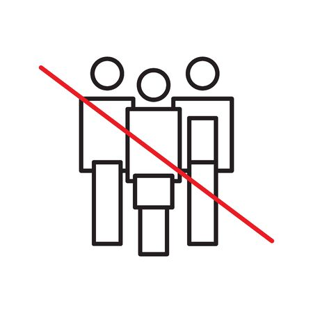 Avoid crowds sign.  Practice social distance. Flat icon  illustration