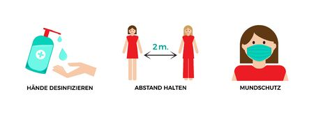 precaution tips. Protect yourself and others from virus illustration. German language