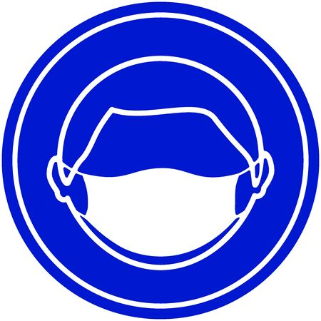 Round sign of a Man wearing protective face mask icon. Protection against virus, flu and air pollution. Flat illustration