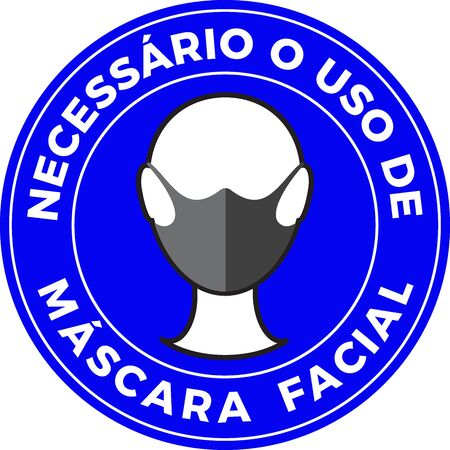 Sign of a human icon wearing protective face mask and portuguese text Mandatory use of Face Mask. Protection against virus. Flat illustration