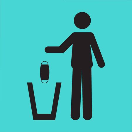 Icon pictogram of a person throwing a face mask in a trash can.
