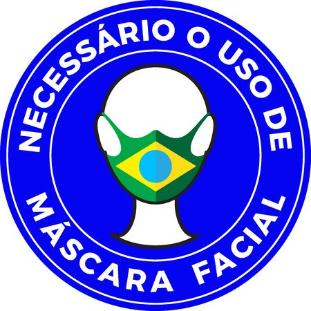 Human head icon wearing protective face mask with Brazil flag. Portuguese language text: Mandatory use of Face Mask.
