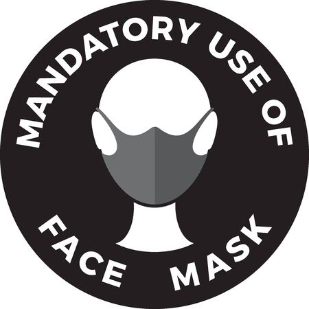 Human head icon wearing protective face mask and text Mandatory use of Face Mask. Standard-Bild - 150202500