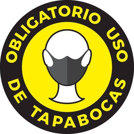 Human head icon wearing protective face mask. Portuguese language text: Mandatory use of Face Mask. illustration