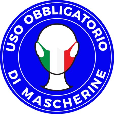 Human head icon wearing protective face mask with italian flag. Italian language text: Mandatory use of Face Mask. illustration Illustration