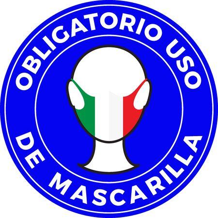 Human head icon wearing protective face mask with Mexico flag. Spanish language text: Mandatory use of Face Mask. illustration Illustration