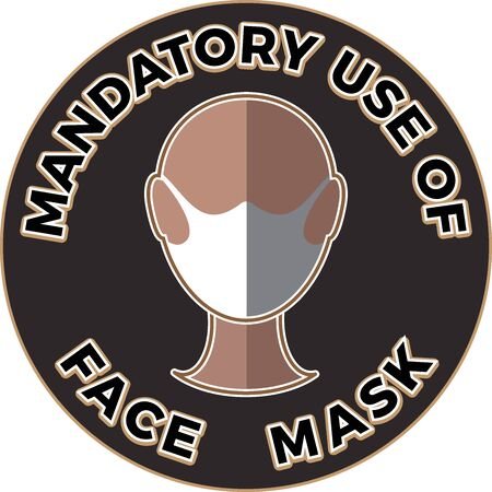 Human head icon wearing protective face mask and text Mandatory use of Face Mask. Flat illustration Illustration