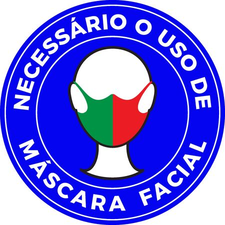 Human head icon wearing protective face mask with Portugal flag. Portuguese language text: Mandatory use of Face Mask. illustration