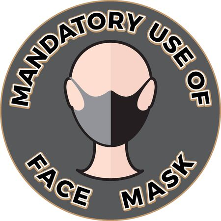 Human head icon wearing protective face mask and text Mandatory use of Face Mask.