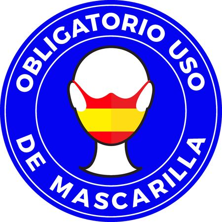 Human head icon wearing protective face mask with Spain flag. Spanish language text: Mandatory use of Face Mask. illustration