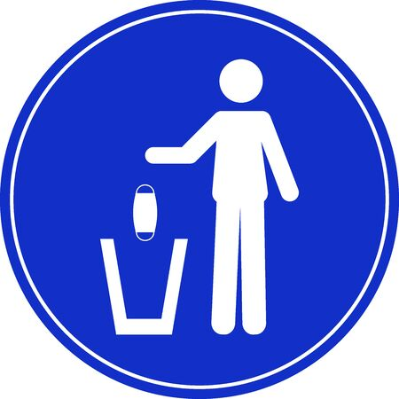Sign of a person throwing a face mask in a trash can.