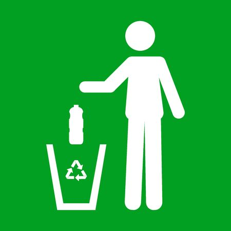 Icon of of a person throwing a plastic bottle in a trash can. Recycling concept Stockfoto - 150207216