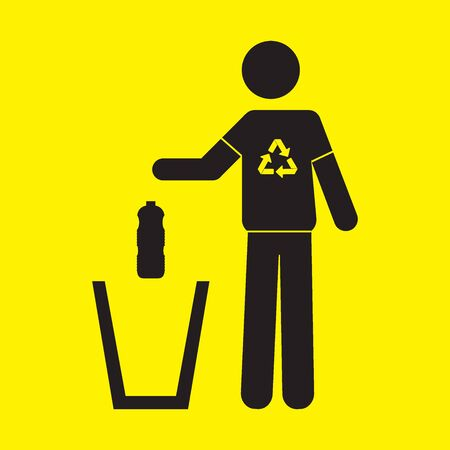 Icon of of a person throwing a plastic bottle in a trash can. Recycling concept Stockfoto - 150207217