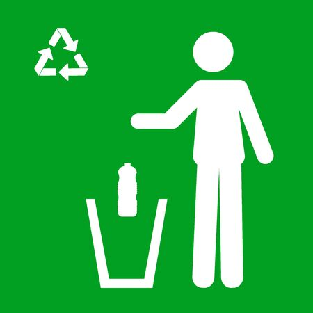 Icon of of a person throwing a plastic bottle in a trash can. Recycling concept Stockfoto - 150207218