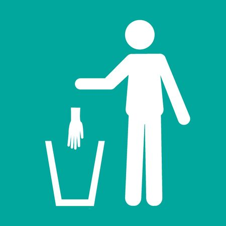 Icon pictogram of a person throwing a protective glove in a trash can.