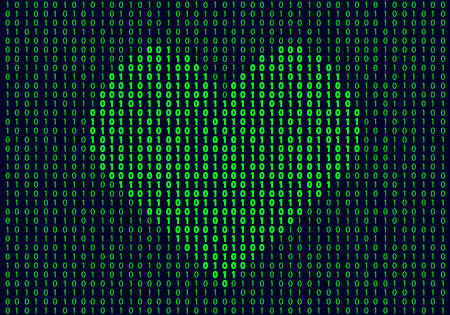 Heart shape made of binary code. Background of internet love concept. Vector Illustration Ilustração