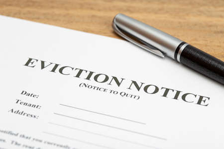 Eviction Notice Document on table Imagens