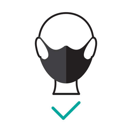 How to Use face mask properly icon. Coronavirus Covid-19 advice. Flat Vector illustration
