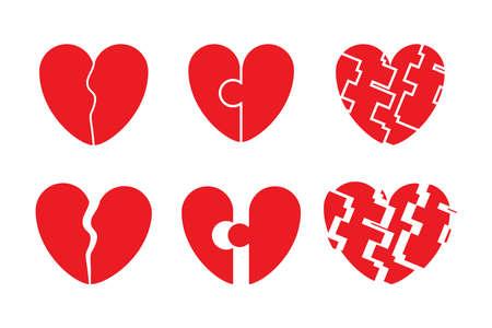 Set of Broken heart icon. Dislike, sadness, shattered hearts, rupture, divorce. Flat vector illustration Stock Illustratie