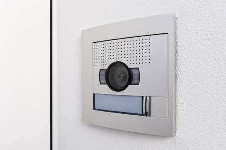 Video camera intercom in the entry of a building or house. Security system