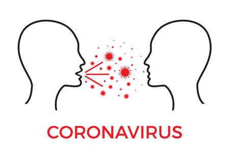 Coronavirus Covid-19 infection concept. Two heads one infected spreading virus. respiratory droplet. Flat vector illustration