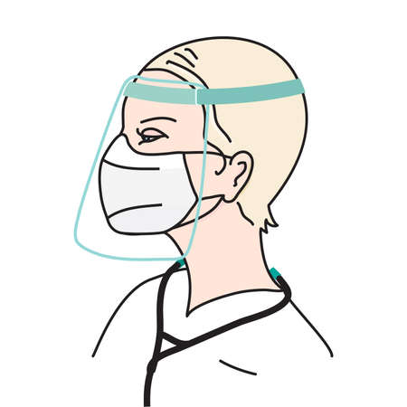 Doctor woman with face mask and face shield. Protection wear during  crisis. Flat vector illustration