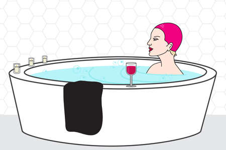 Woman taking a bath with wine glass and candles. Relaxing at home concept. Flat vector illustration. Copy space