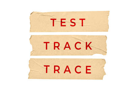 Test Trace Track concept. Tape stickers with text isolated on white background