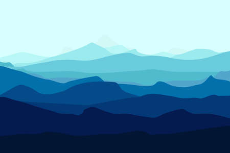 Mountains landscape. Mountains silhouettes panorama at morning. Vector forest hiking background
