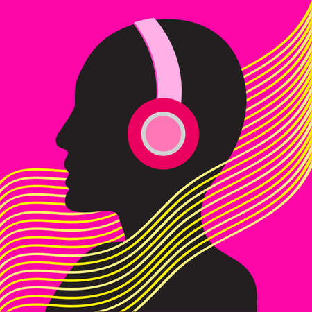 Silhouetted woman with headphones. Eighties retro party music background. 80s Vector illustration