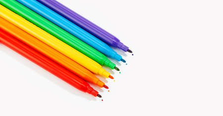 Markers of rainbow colors isolated on white background banner. LGBTQ rainbow flag Gay pride background. Copy space Stock fotó