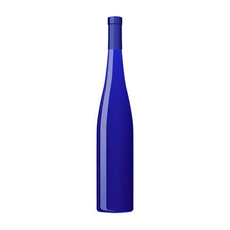 Blue fashion Wine bottle isolated on white background. Vector illustration