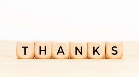 Thanks text on wooden blocks. Thankful concept. Copy space Stock fotó - 157782174