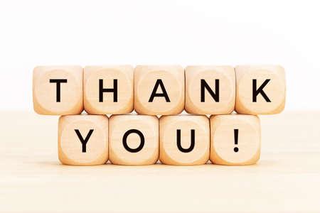 Thank you text on wooden blocks. Thankful concept. Copy space Stock fotó