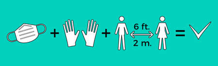 COVID-19 advises prevention symbols and icons.