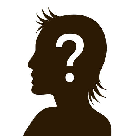 Silhouetted Human Head With Question mark Symbol. Flat vector illustration