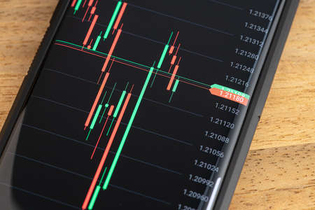 Stock market Chart on smart phone screen. Trading on portable device concept