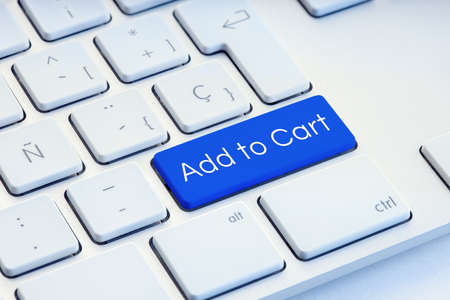 Add to cart on blue computer Keyboard Key