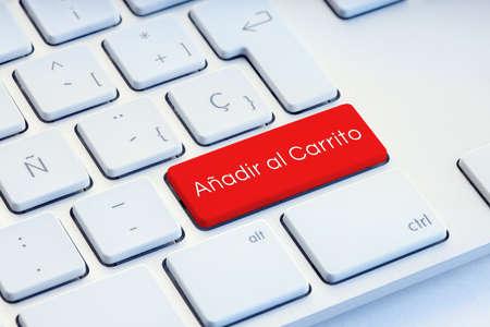 Add to cart on spanish language Word on computer Keyboard Key Stock fotó