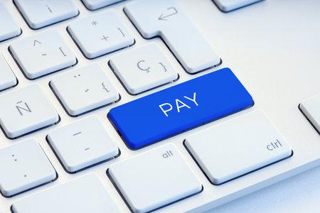 Pay Word on blue Keyboard Key